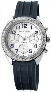 Armbanduhr Weiß Crystal Silikon Excellanc