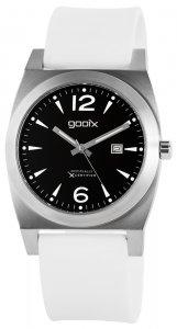 Armbanduhr Schwarz Silber Weiß Silikon Gooix GX05131-004
