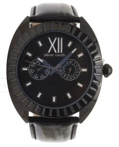 Armbanduhr Schwarz Schwarz Leder Pierre Cardin