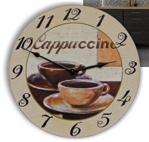 Wanduhr Küchenuhr Cappuccino Kaffee Tasse 30 cm rund
