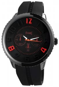 Armbanduhr Schwarz Rot Silikon Fame