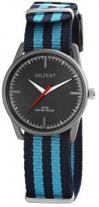 Armbanduhr Schwarz Blau Textil Akzent
