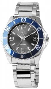 Armbanduhr Schwarz Blau Silber Edelstahl SirTime