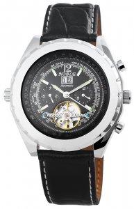 Armbanduhr Schwarz Silber Leder Automatik Noble