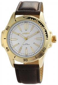 Armbanduhr Weiß/Gold Braun Kunstleder Akzent