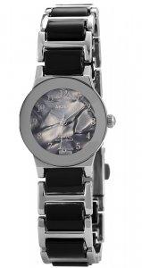 Armbanduhr Perlmutt Schwarz/Silber Metall Akzent