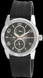 Armbanduhr Schwarz Silber Silikon ROOTS R862LBLK