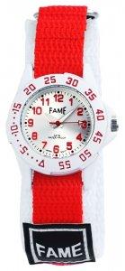 Armbanduhr Rot Weiß Silber Textil Klettverschluß Fame