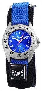 Armbanduhr Blau Schwarz Textil Klettverschluß Fame
