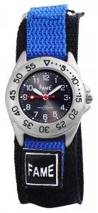 Armbanduhr Schwarz Blau Textil Klettverschluß Fame