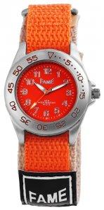 Armbanduhr Orange Beige Textil Klettverschluß Fame