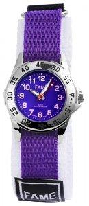 Armbanduhr Lila Weiss Textil Klettverschluß Fame