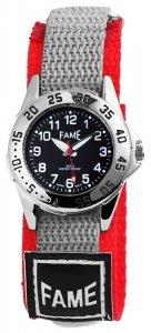 Armbanduhr Schwarz Grau Rot Textil Klettverschluß Fame
