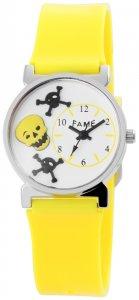 Armbanduhr Weiß Gelb Silikon Fame