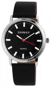 Armbanduhr Schwarz Silber Kunstleder Bahnhof