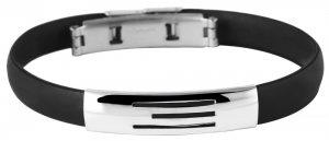 Armband Kautschuk Edelstahl Schwarz K4904 Akzent