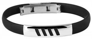 Armband Kautschuk Edelstahl Schwarz K4912 Akzent