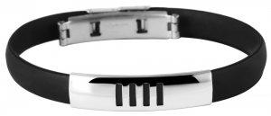 Armband Kautschuk Edelstahl Schwarz K4909 Akzent