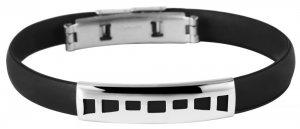 Armband Kautschuk Edelstahl Schwarz K4913 Akzent