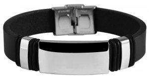 Armband Leder Edelstahl Schwarz L9927 Akzent