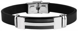 Armband Leder Edelstahl Schwarz L9935 Akzent