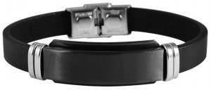 Armband Leder Edelstahl Schwarz L9913 Akzent