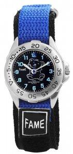 Armbanduhr Schwarz Blau Bärchen Textil Klettverschluß Fame