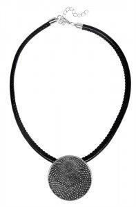 Modeschmuckkette mit Anhänger Schwarz/Silber