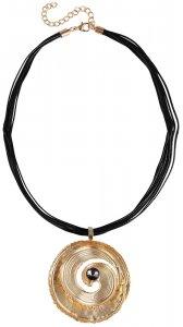 Modeschmuckkette mit Anhänger Schwarz/Gold