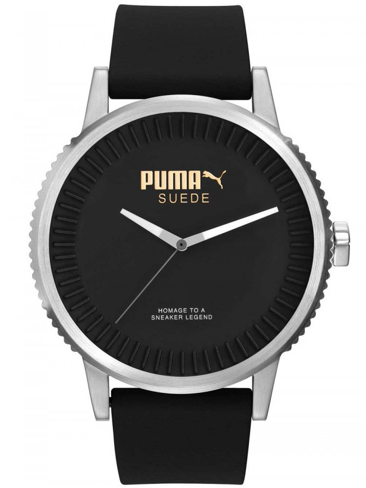 Armbanduhr Silber Schwarz Silikon Puma PU104101002