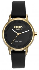 Armbanduhr Gold Schwarz Silikon Puma