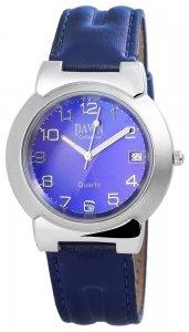 Armbanduhr Silber Blau Kunstleder DAWN