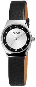 Armbanduhr Schwarz Silber Leder Flair