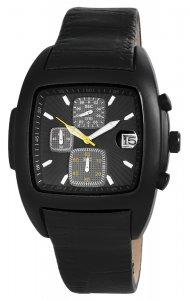 Armbanduhr Chronograph Schwarz Leder Flair