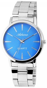 Armbanduhr Hellblau Blau Silber Metall Adrina