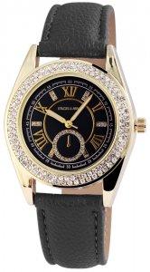 Armbanduhr Anthrazit Gold Schwarz Crystal Kunstleder Excellanc