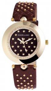 Armbanduhr Braun Gold Crystal Kunstleder Excellanc