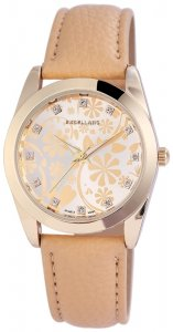 Armbanduhr Beige Gold Crystal Kunstleder Excellanc