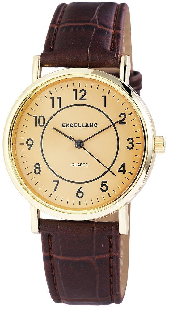 Armbanduhr Gelb Gold Braun Kunstleder Excellanc