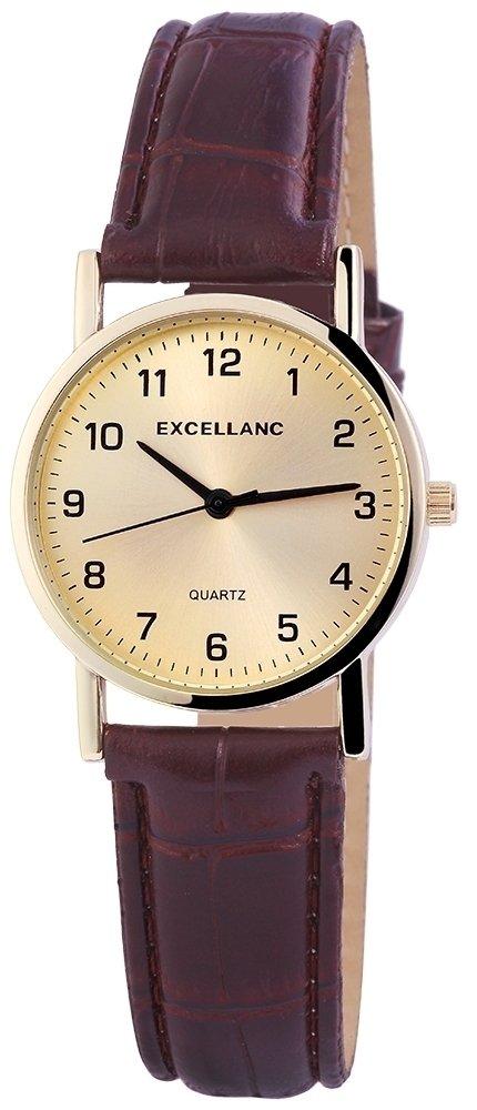 Armbanduhr Gold Braun Kunstleder Excellanc