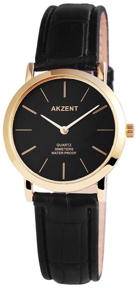 Armbanduhr Anthrazit Schwarz Gold Metall Akzent