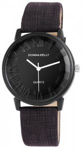 Armbanduhr Schwarz Braun Kunstleder Donna Kelly