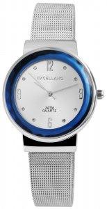Armbanduhr Blau Silber Crystal Metall Meshband Excellanc