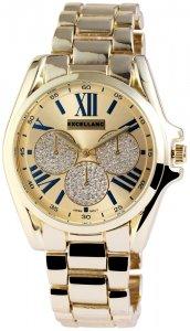 Armbanduhr Blau Gold Crystal Metall Excellanc