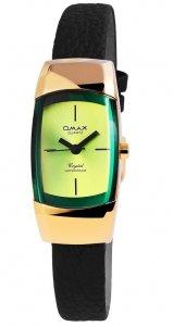 Armbanduhr Grün Gold Schwarz Kunstleder Omax