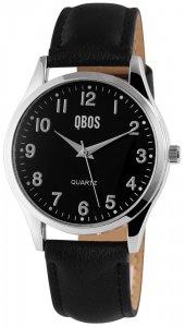 Armbanduhr Schwarz Kunstleder QBOS