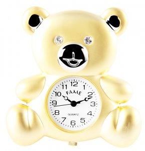 Tischuhr Miniaturuhr Teddy Bär Gold/Silber Fame