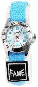 Armbanduhr Silber Hellblau Weiss I Textil Klettverschluß Fame