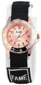 Armbanduhr Rosé Schwarz Weiss Textil Klettverschluß Fame