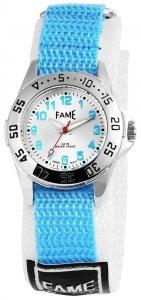 Armbanduhr Silber Hellblau Weiss II Textil Klettverschluß Fame